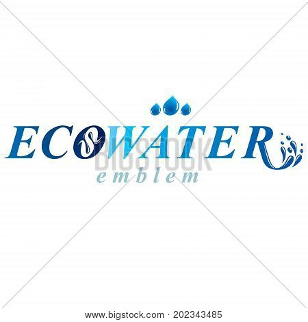 Pure aqua ecology vector logotype. Water day theme. Body cleansing concept.