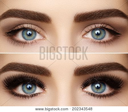 Perfect Shape Of Eyebrows And Extremly Long Eyelashes. Macro Shot Of Fashion Eyes Visage. Before And