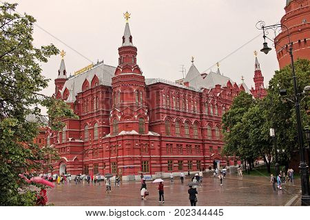 Moscow Russia - 14 July 2017: State Historical Museum is a museum of Russian history wedged between Red Square and Manege Square.