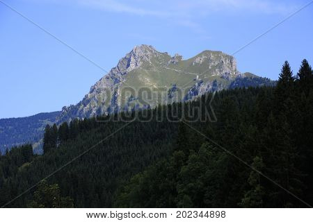 view to the aggenstein in the alps in austria