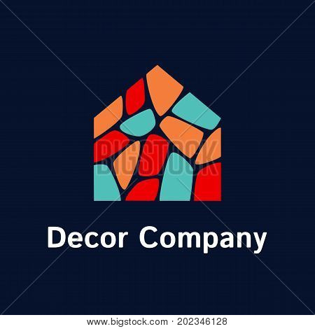 Vector logo template for decor company. Illustration of house consists of multi-colored stones. EPS10. Can be used for real estate company. Home icon. Design concept