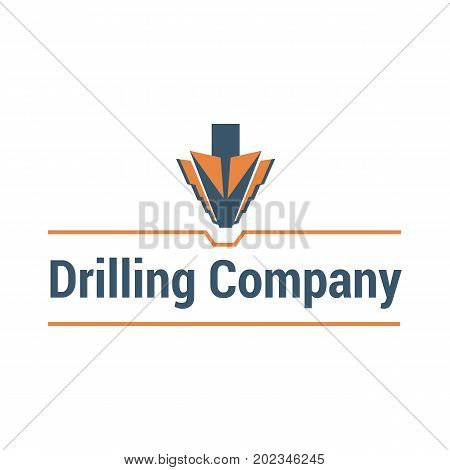 Vector logo template for drilling company. Illustration of drill. Geological prospecting icon. EPS10.