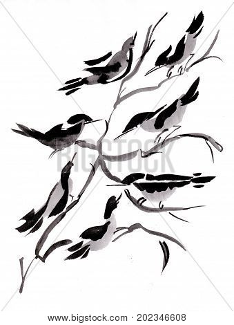 birds in branches of  the tree sumi-e