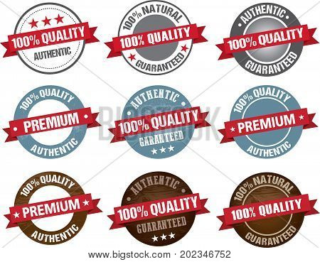 Premium quality item tag set round vector label red grey and wooden