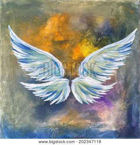 Acrylic Painting on Canvas of Angel Wings in White, Blue, Gold, Yellow, Green, Lavender
