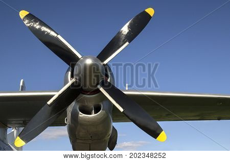 Powerfull propeller from old aircraft sky day