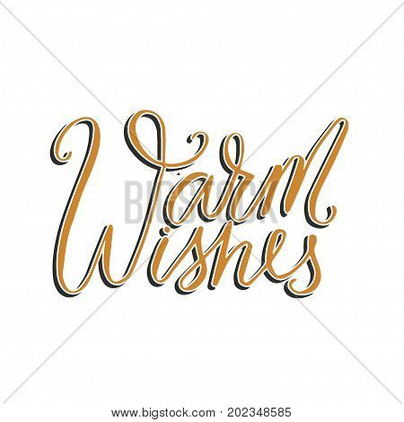 Merry Christmas brush lettering typography. Handwriting text design with winter handdrawn lettering. Happy New Year greeting card decoration. Warm wishes.