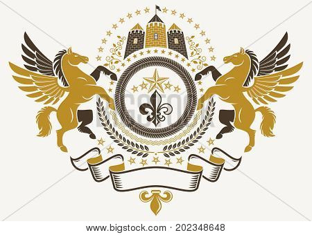 Heraldic Coat of Arms vintage vector emblem created with graceful Pegasus illustration lily flower and medieval castle.