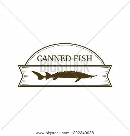 Vector logo template for fish preserves. Silhouette of sturgeon fish. Can be used for labels on canned fish. EPS 10. Design element for fish-menu.