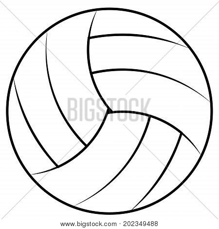 Ball for playing beach volleyball, vector volleyball ball contours for coloring