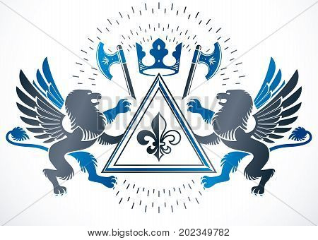 Classy emblem vector heraldic Coat of Arms made with imperial crown mythic gryphon and hatchets