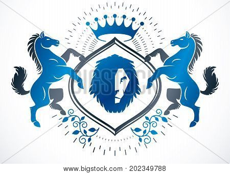 Classy emblem vector heraldic Coat of Arms composed using graceful horse wild lion illustration and imperial crown