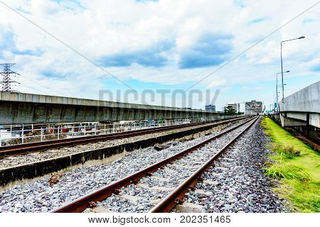 Milestone Of Way To Success Concept. Railway Track Near Railway Bridge And Railway Bridge Tunnel