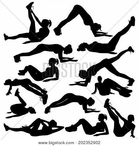 Collection of vector silhouettes of a slim girl doing workout for the press. Girl sports isolated on white background.