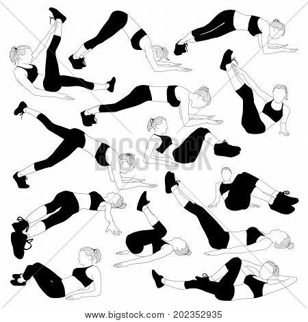 Set of vector silhouettes of a slim girl doing workout for the press. Girl sports isolated on white background.