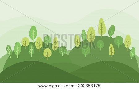 Kid natural green garden forest park landscape nature background, Cartoon illustration.