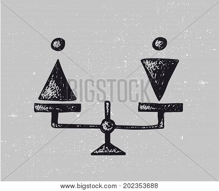 Vector gender equality illustration. Man and woman on scales, hand drawn