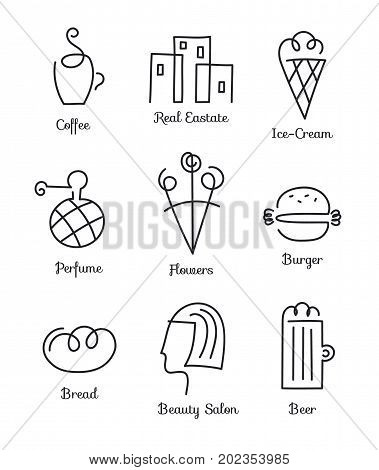 Vector set of linear icons, logos for small business, entrepreneurs. Cafe, fast food, flowers, Beauty salon, coffee, beer, bread real estate perfume Hand drawn
