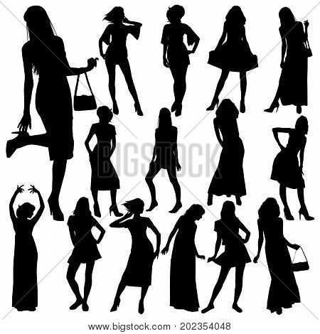 Vector silhouettes of slim young women in various dresses. Sexy beautiful girls in evening and cocktail dresses.