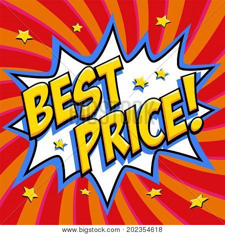 Best price - Comic book style word on a red background. Best price comic text speech bubble. Banner in pop art comic style. Color summer banner in pop art style Ideal for web. Decorative background with bomb explosive. Vector illustration.