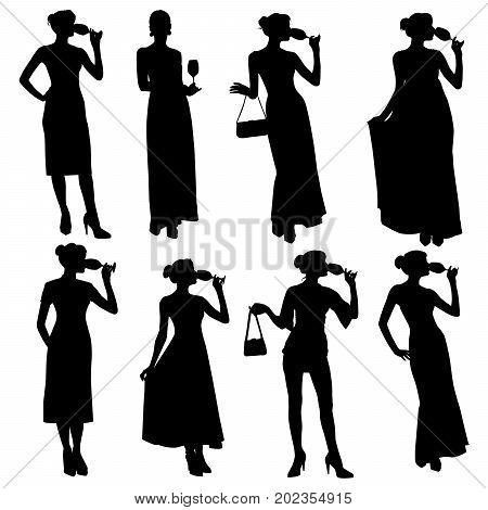 Collection of vector silhouettes of a slim sexy girl in a dress with with wine glass in her hand. Woman in evening dress drinking wine from glass.