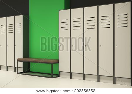 Modern Green Locker Room With Empty Wall