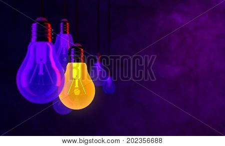 Bulb Lights, Creative Idea And Leadership 3D Rendering
