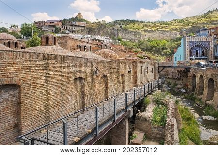 Tbilisi, Georgia - Juny 9, 2017: Abanotubani, ancient district of old Tbilisi, Georgia, known for its sulfuric baths on Juny 9, 2017