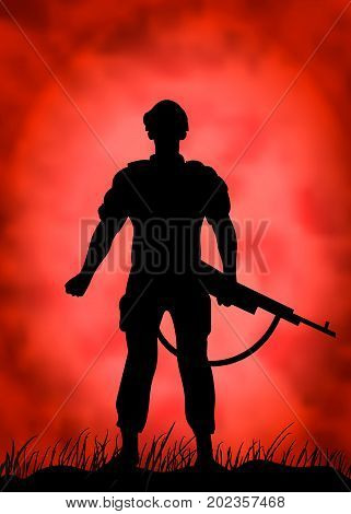 Silhouette of a soldier against the background of a crimson sky.