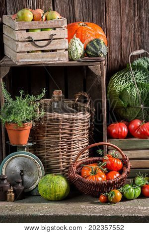 Vintage Pantry With Harvested Vegetables And Fruits