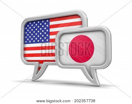 3D Illustration. Speech bubbles with flags of USA and Japan. Image with clipping path