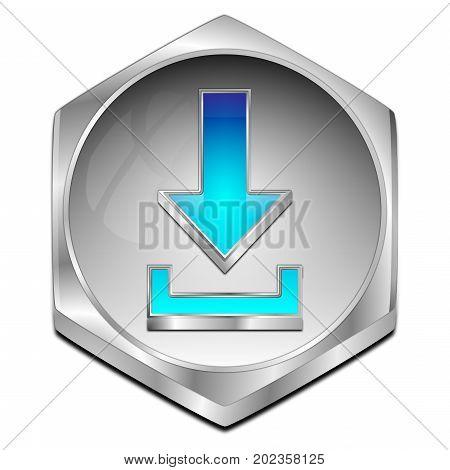 decorative silver blue Download button - 3D illustration