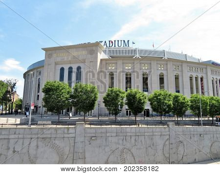 New York City - June 212017- The front of Yankee Stadium and the sign