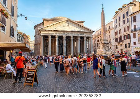 ROME,ITALY - JULY 19,2017 : The Pantheon in central Rome at sunset