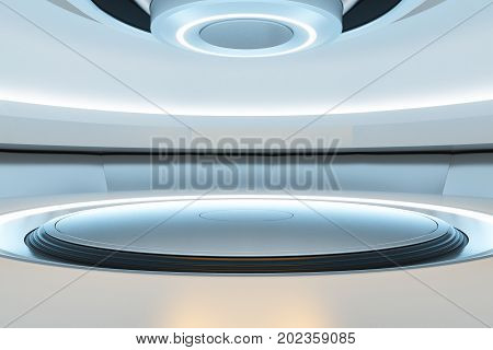 Abstract teleporter. Future science fiction concept. 3D Rendering