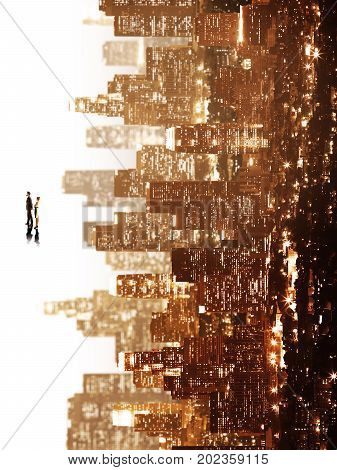 Tiny businessman and woman on abstract sideways city background. Think concept
