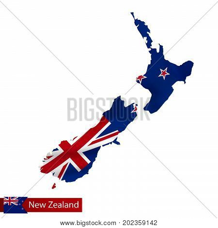 New Zealand Map With Waving Flag Of Country.