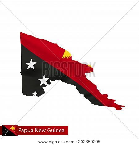 Papua New Guinea Map With Waving Flag Of Country.