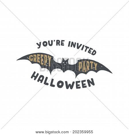 Happy Halloween badge. Vintage hand drawn logo design. Monochrome style. Typography elements and Halloween symbol - bat. Stock vector isolated on white background.