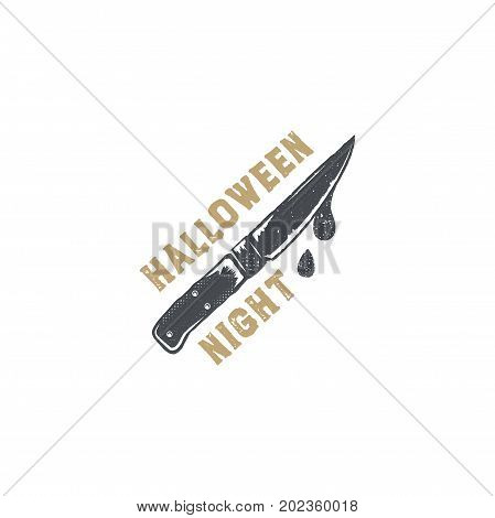 Halloween badge. Vintage hand drawn logo design. Monochrome style. Typography elements and Halloween symbol - knife with blood. Stock vector isolated on white background.