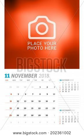 November 2018. Wall Calendar Planner Template. Vector Design Print Template With Place For Photo. We