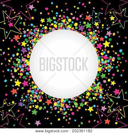 Dark background with confetti and colorful stars around a white space for text