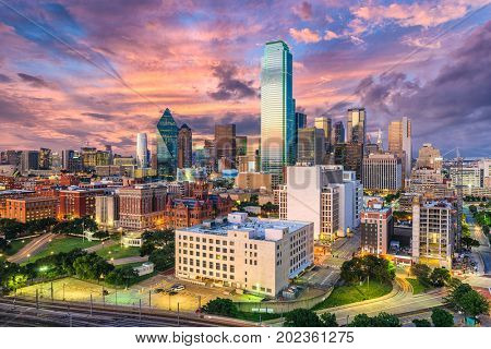 Dallas, Texas, USA downtown city skyline. poster
