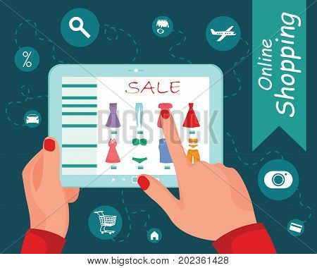 Tablet pc with buy button on the screen. E-commerce flat design concept. Using tablet pc for online purchasing. Eps 10 vector.