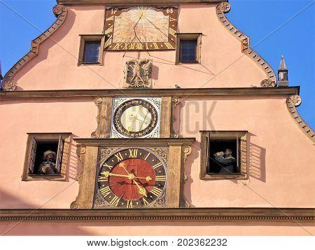 Famous clock in Rothenburg ob der Tauber Germany