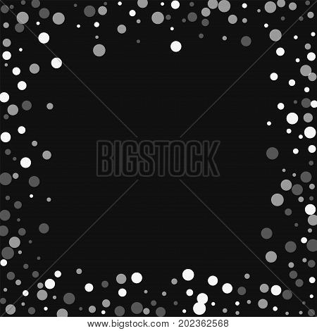 Falling White Dots. Chaotic Border With Falling White Dots On Black Background. Vector Illustration.
