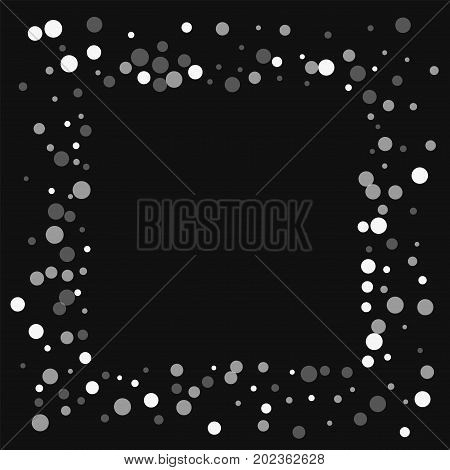 Falling White Dots. Square Messy Frame With Falling White Dots On Black Background. Vector Illustrat