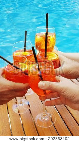 a group of aperitifs with delicious cocktail