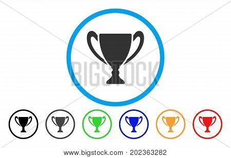 Cup vector rounded icon. Image style is a flat gray icon symbol inside a blue circle. Additional color variants are gray, black, blue, green, red, orange.
