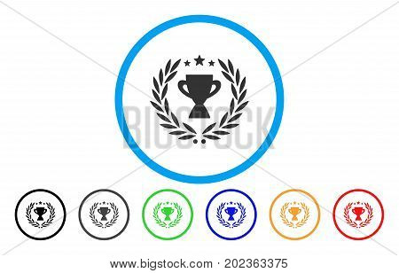 Glory Emblem vector rounded icon. Image style is a flat gray icon symbol inside a blue circle. Bonus color versions are gray, black, blue, green, red, orange.